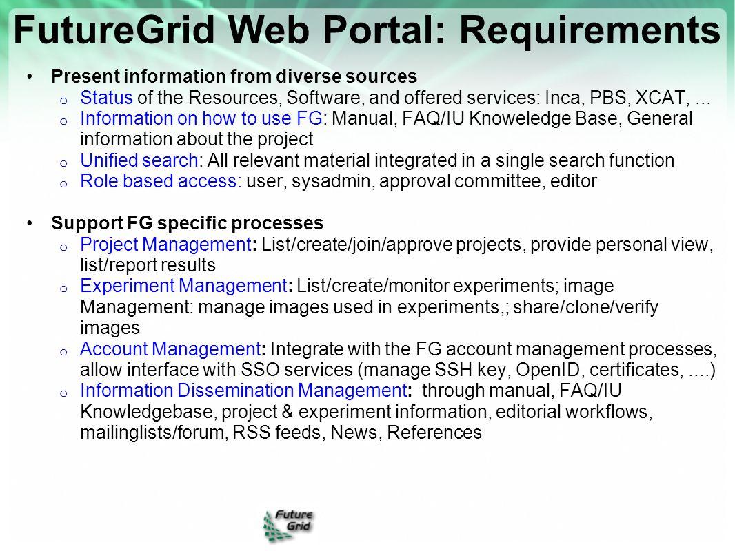 FutureGrid Web Portal: Requirements