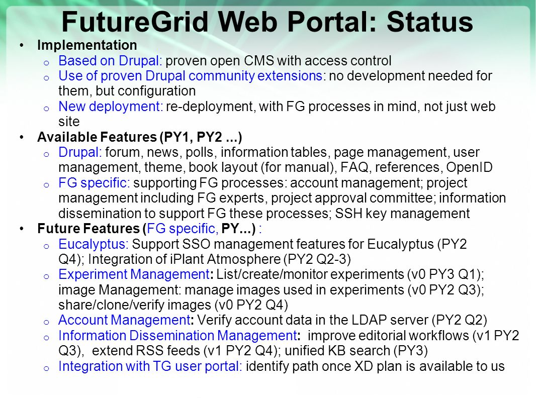 FutureGrid Web Portal: Status