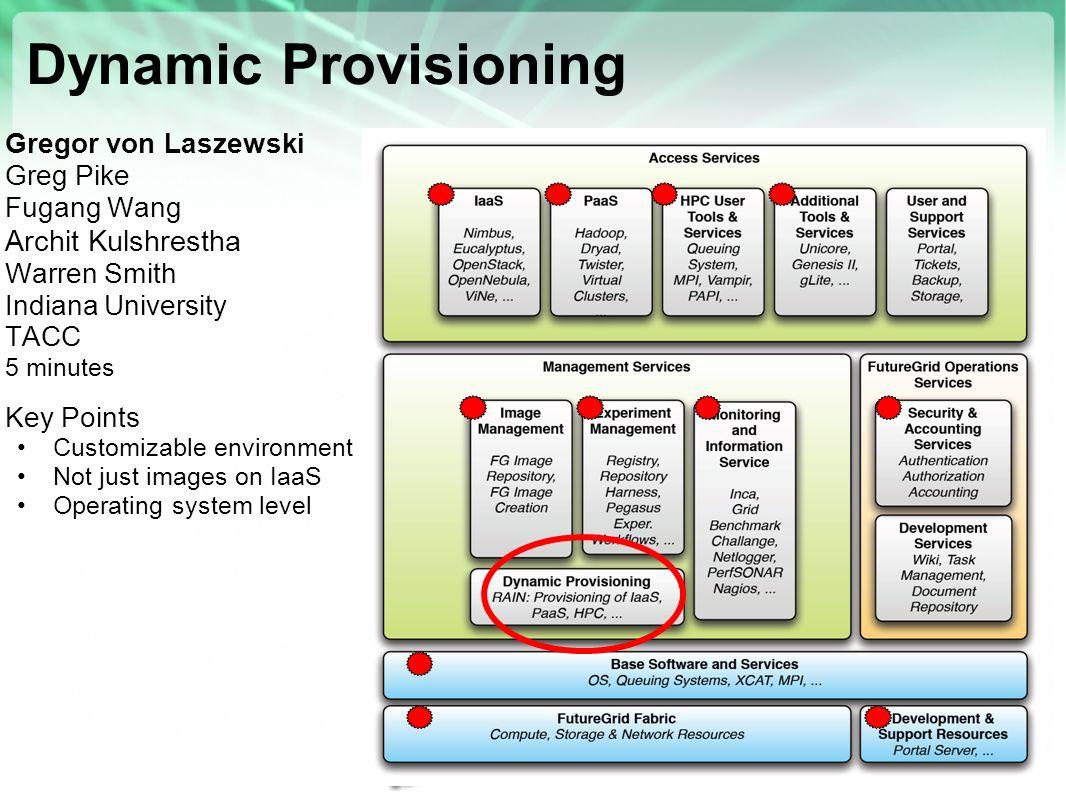 Dynamic Provisioning Archit Kulshrestha Gregor von Laszewski Greg Pike