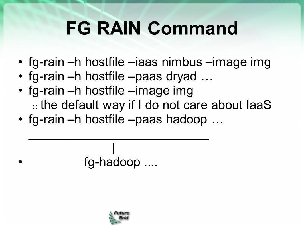 FG RAIN Command fg-rain –h hostfile –iaas nimbus –image img