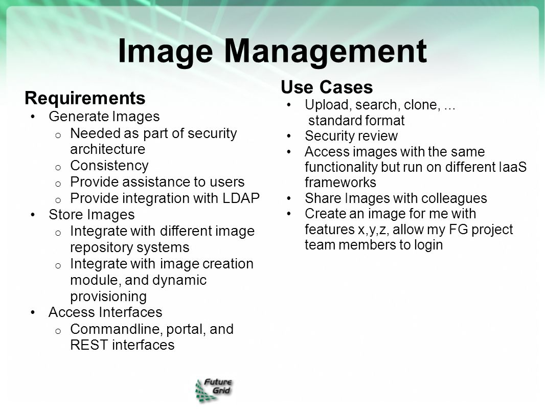 Image Management Use Cases Requirements Generate Images