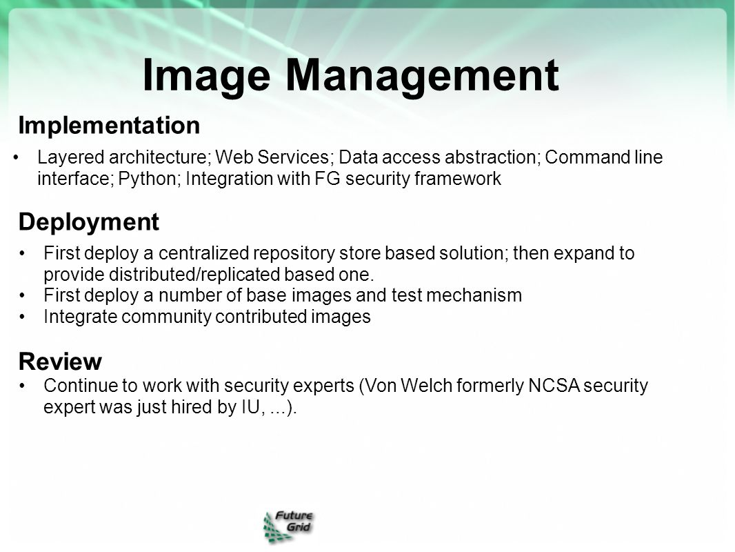 Image Management Implementation Deployment Review