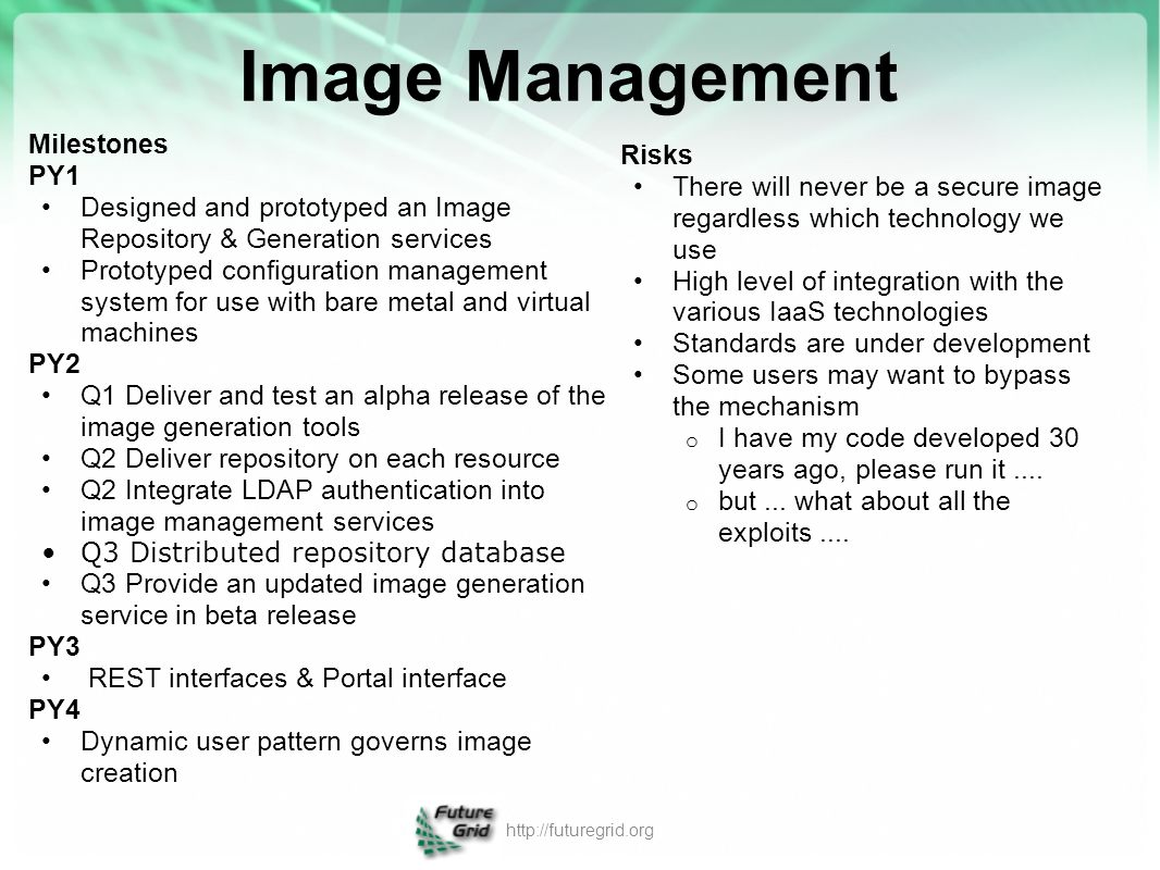 Image Management Milestones Risks PY1