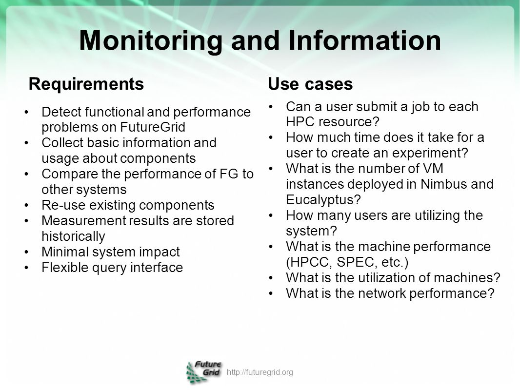 Monitoring and Information