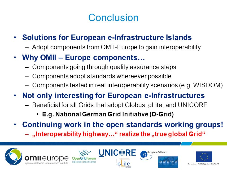Conclusion Solutions for European e-Infrastructure Islands