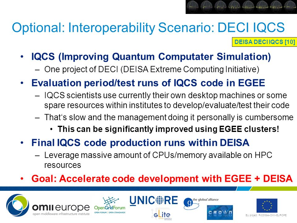 Optional: Interoperability Scenario: DECI IQCS