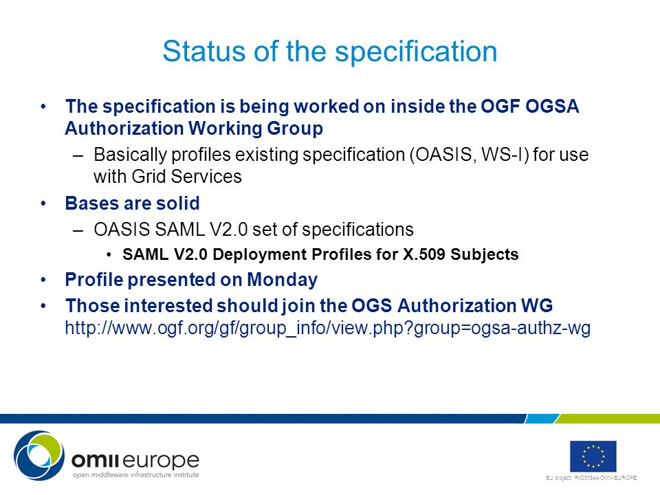 Status of the specification