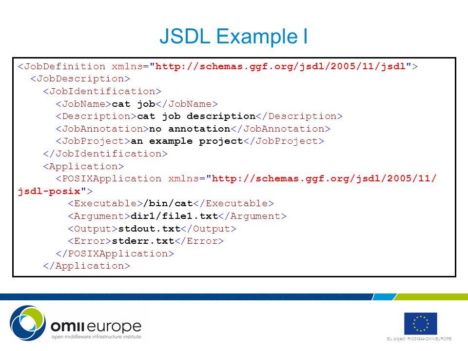 JSDL Example I <JobDefinition xmlns= http://schemas.ggf.org/jsdl/2005/11/jsdl > <JobDescription> <JobIdentification>