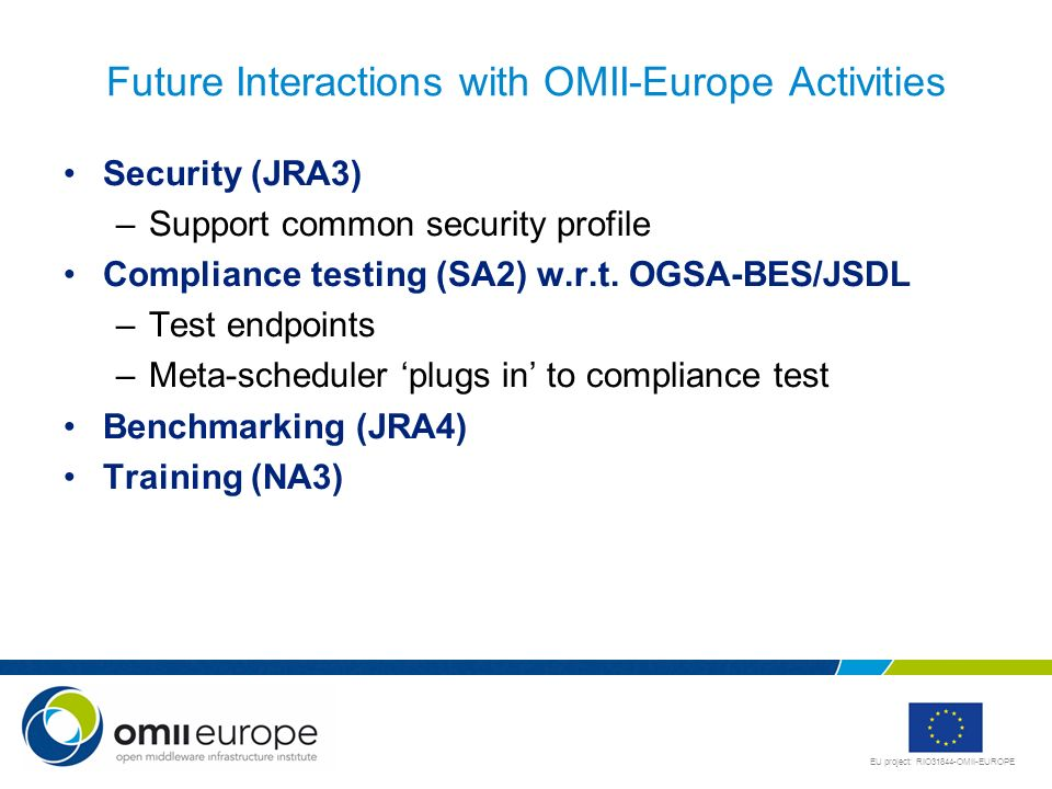 Future Interactions with OMII-Europe Activities