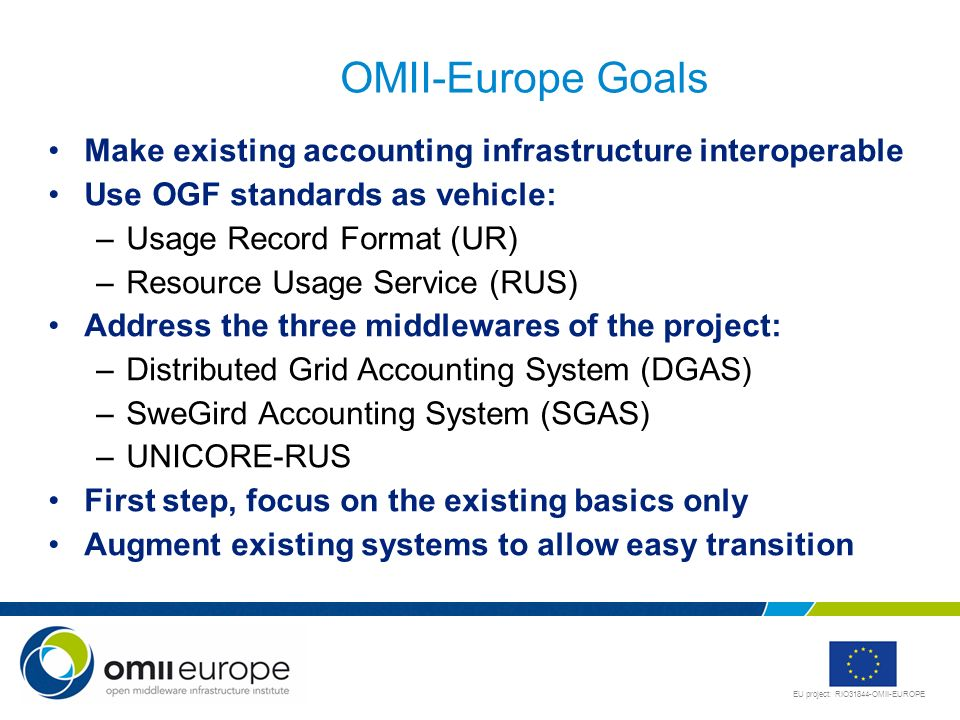 OMII-Europe Goals Make existing accounting infrastructure interoperable. Use OGF standards as vehicle: