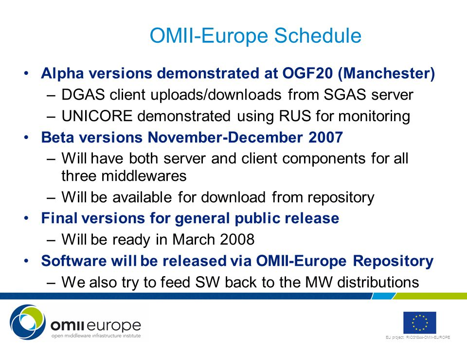 OMII-Europe ScheduleAlpha versions demonstrated at OGF20 (Manchester) DGAS client uploads/downloads from SGAS server.