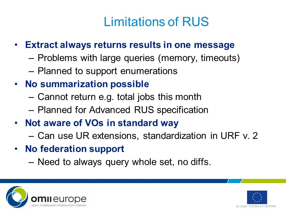 Limitations of RUS Extract always returns results in one message