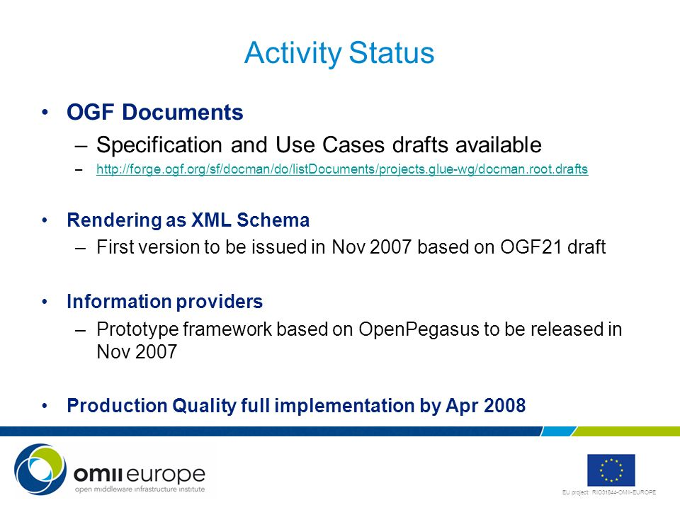 Activity Status OGF Documents