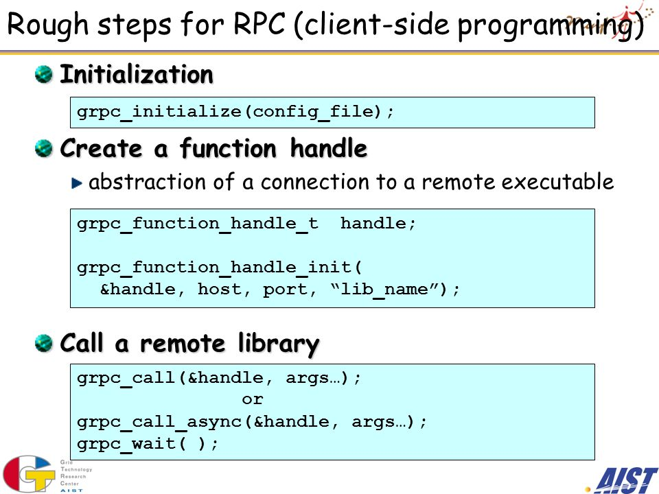 Rough steps for RPC (client-side programming)