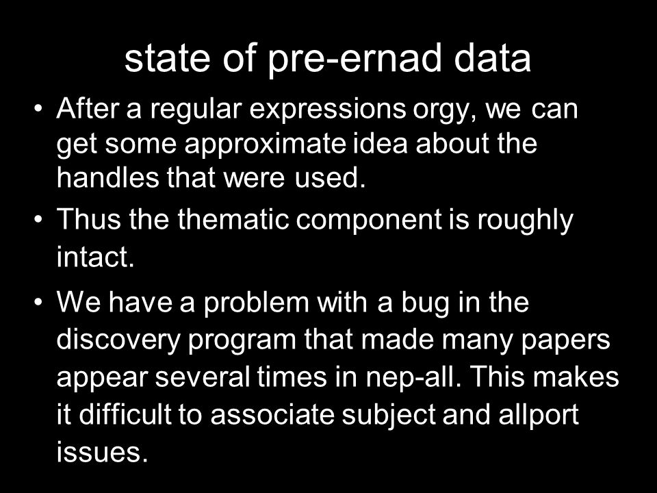 state of pre-ernad data