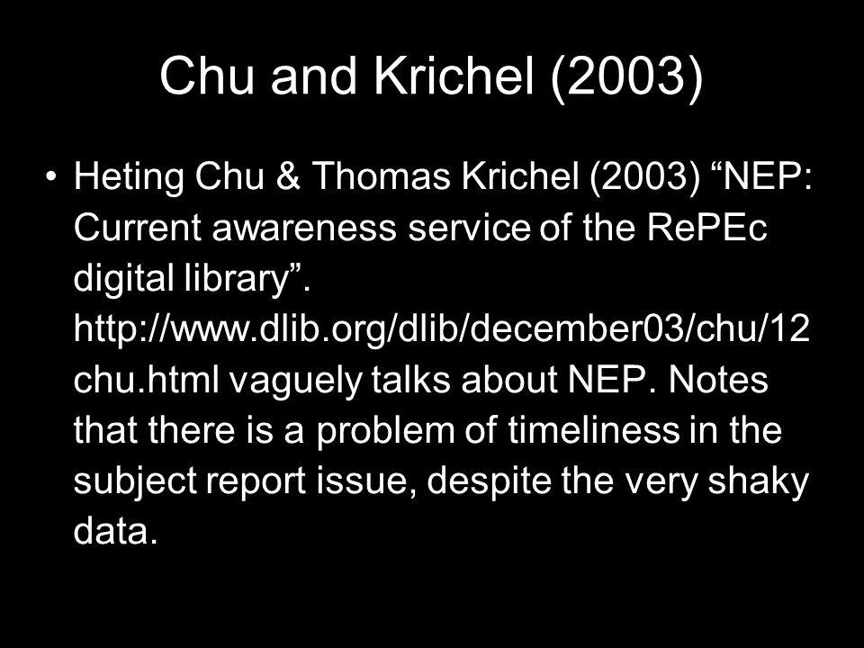 Chu and Krichel (2003)