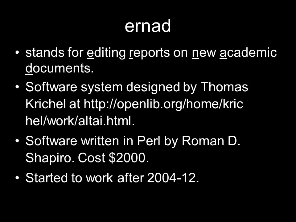 ernad stands for editing reports on new academic documents.