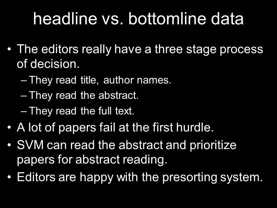 headline vs. bottomline data