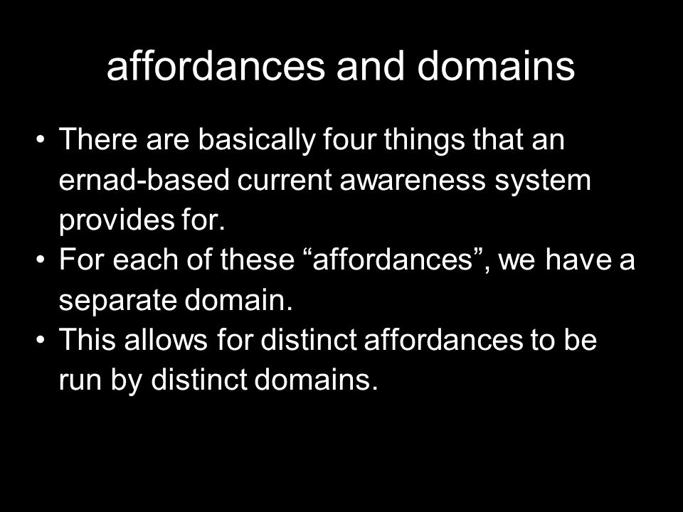 affordances and domains