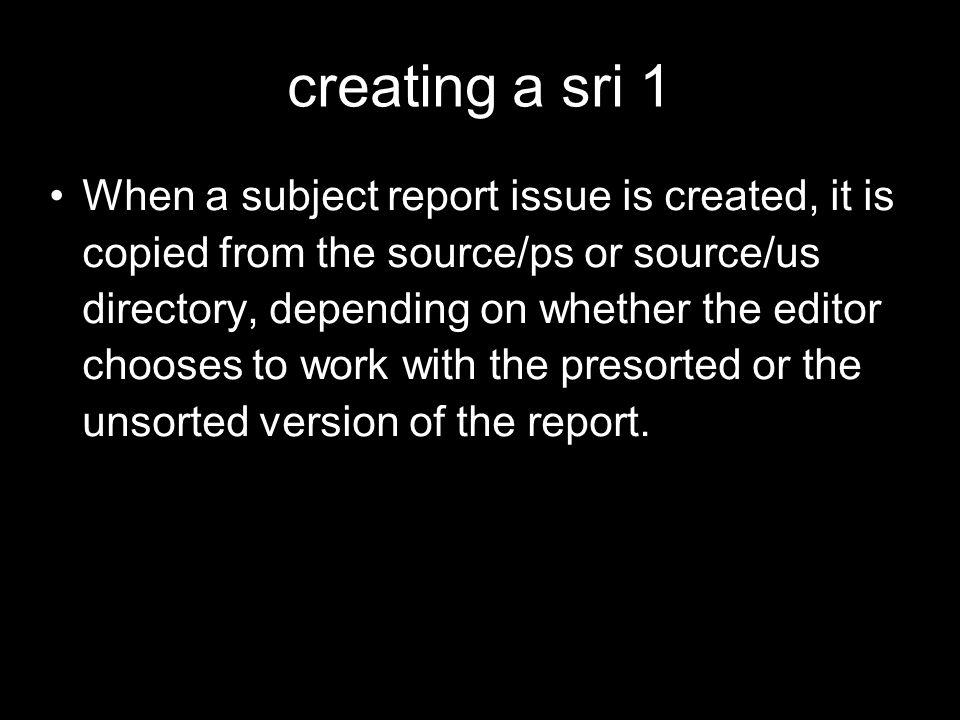 creating a sri 1