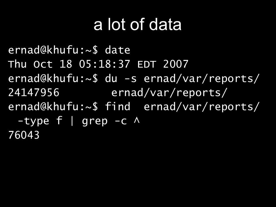 a lot of data ernad@khufu:~$ date Thu Oct 18 05:18:37 EDT 2007