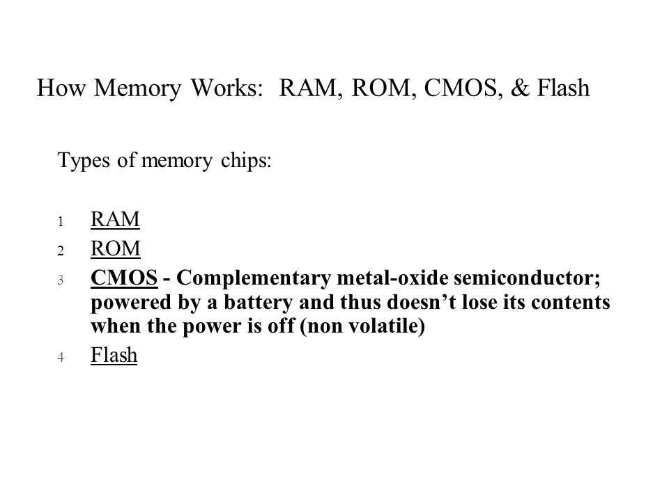 How Memory Works: RAM, ROM, CMOS, & Flash
