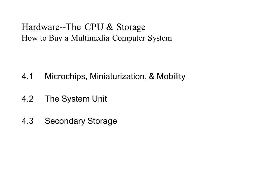 Hardware--The CPU & Storage How to Buy a Multimedia Computer System
