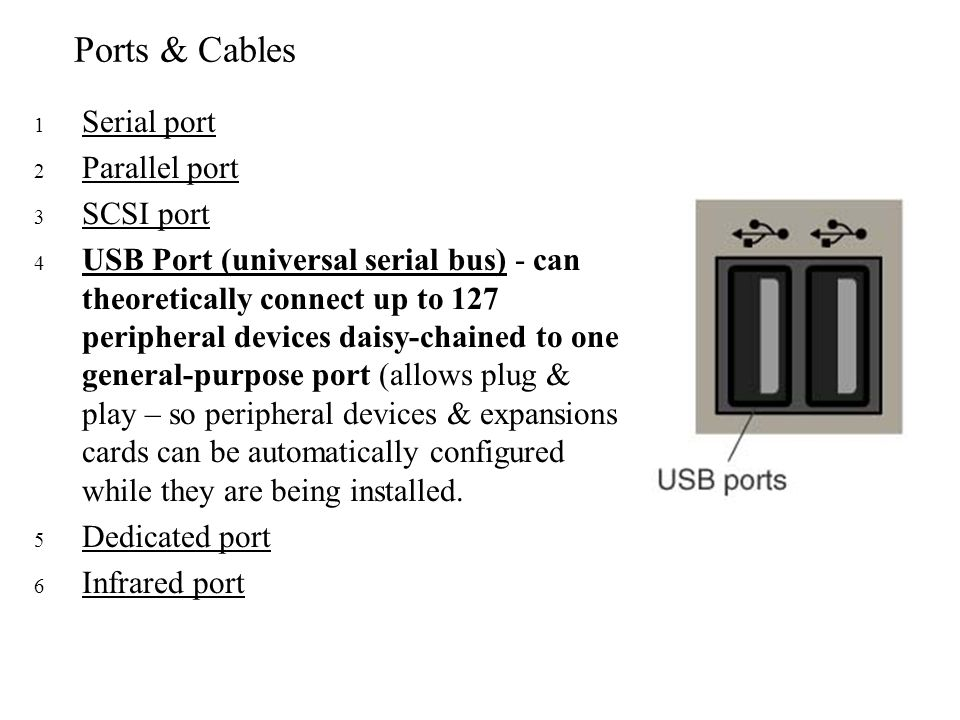 Ports & Cables Serial port Parallel port SCSI port