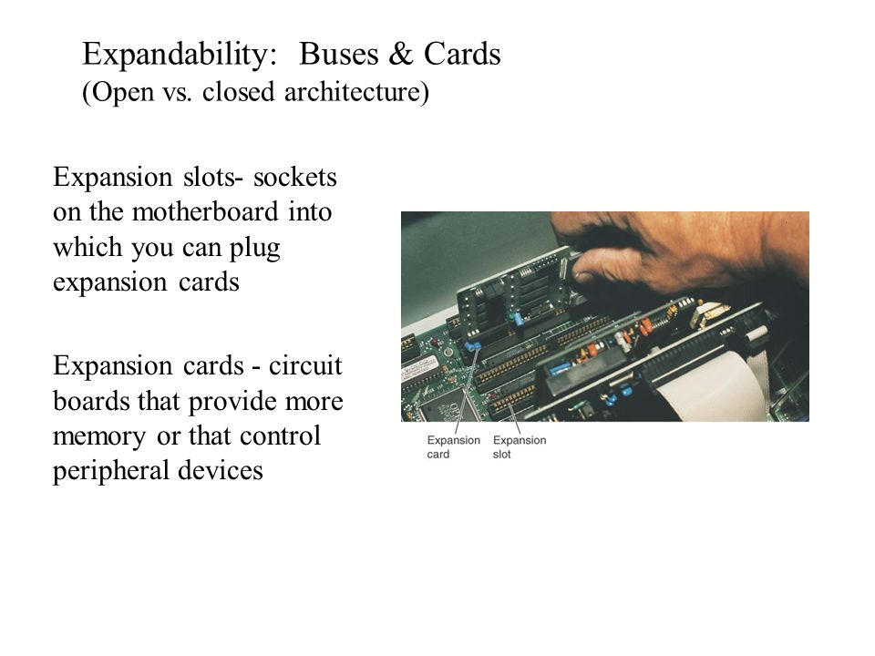 Expandability: Buses & Cards (Open vs. closed architecture)