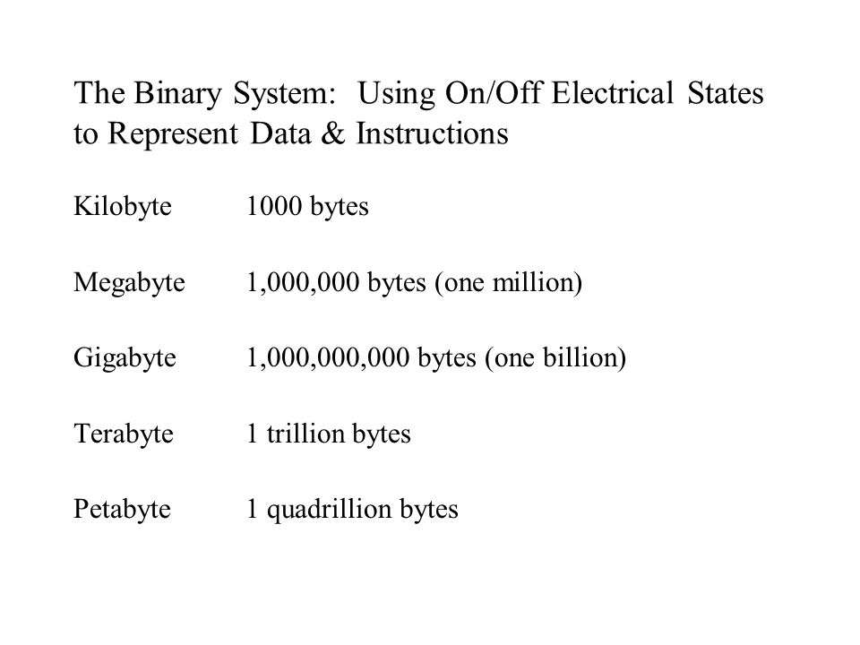 The Binary System: Using On/Off Electrical States to Represent Data & Instructions