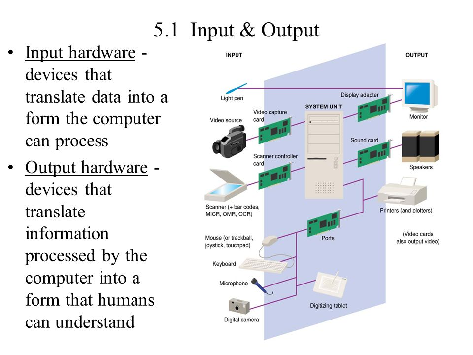 5.1 Input & Output Input hardware - devices that translate data into a form the computer can process.