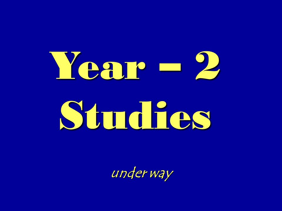 Year – 2 Studies under way