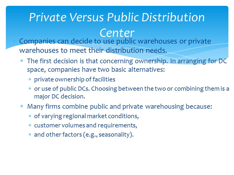 private versus public warehouse essay Companies chose private or public warehouses according to their needs and   let us write or edit the essay on your topic under what conditions could it make.