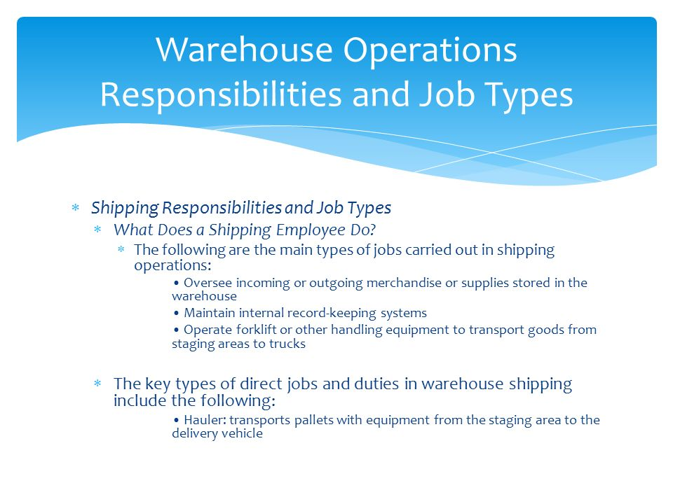 warehouse responsibilities