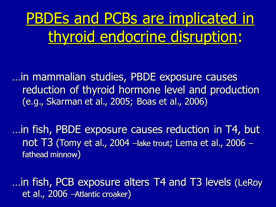 PBDEs and PCBs are implicated in thyroid endocrine disruption:
