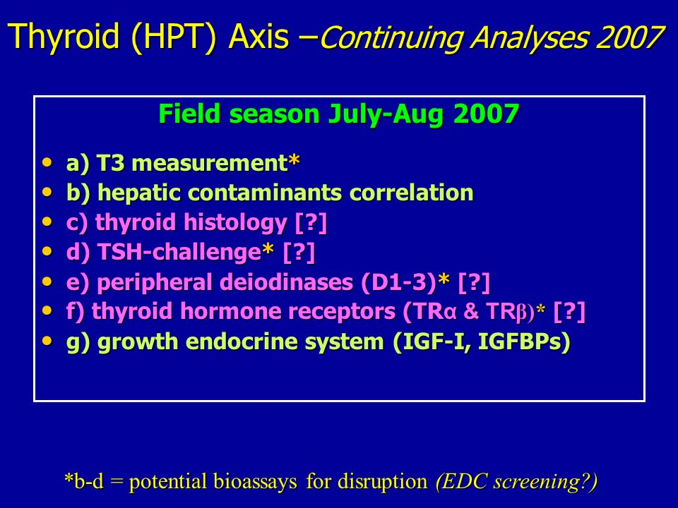 Thyroid (HPT) Axis –Continuing Analyses 2007