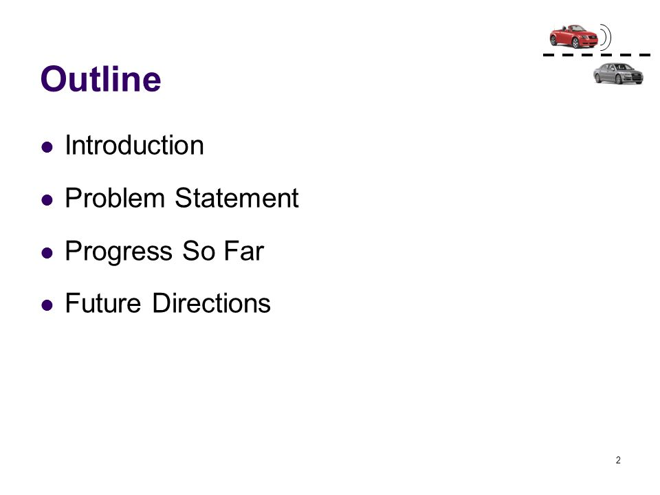 Outline Introduction Problem Statement Progress So Far