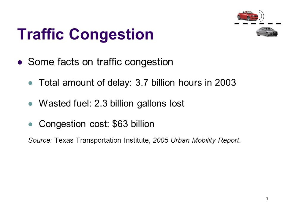 Traffic Congestion Some facts on traffic congestion