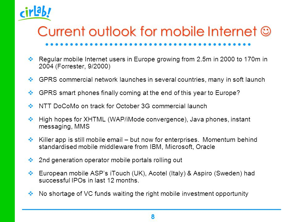 Current outlook for mobile Internet 
