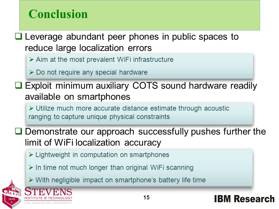 Conclusion Leverage abundant peer phones in public spaces to reduce large localization errors.