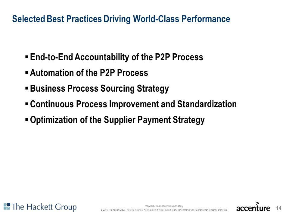 Selected Best Practices Driving World-Class Performance