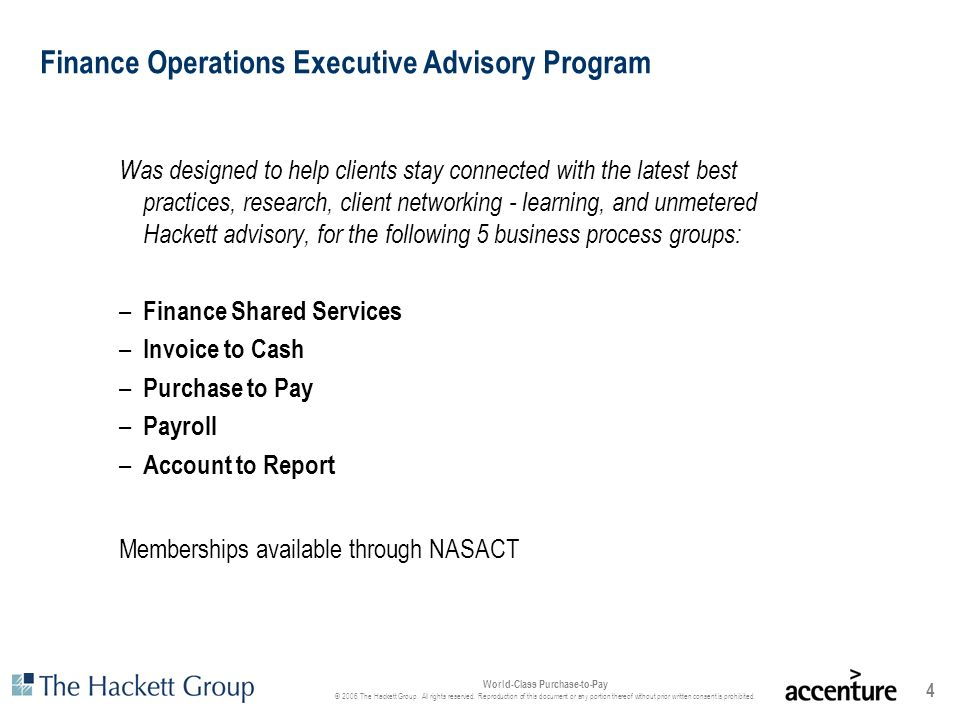 Finance Operations Executive Advisory Program
