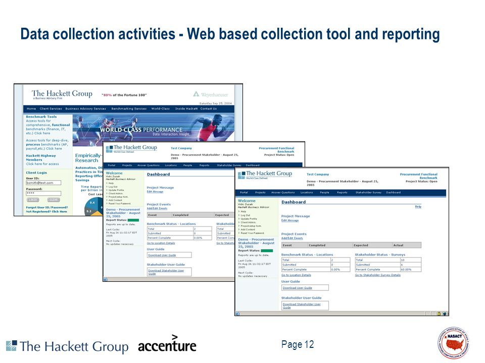 Data collection activities - Web based collection tool and reporting