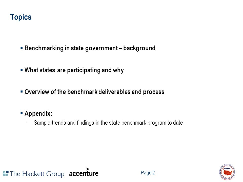 Topics Benchmarking in state government – background