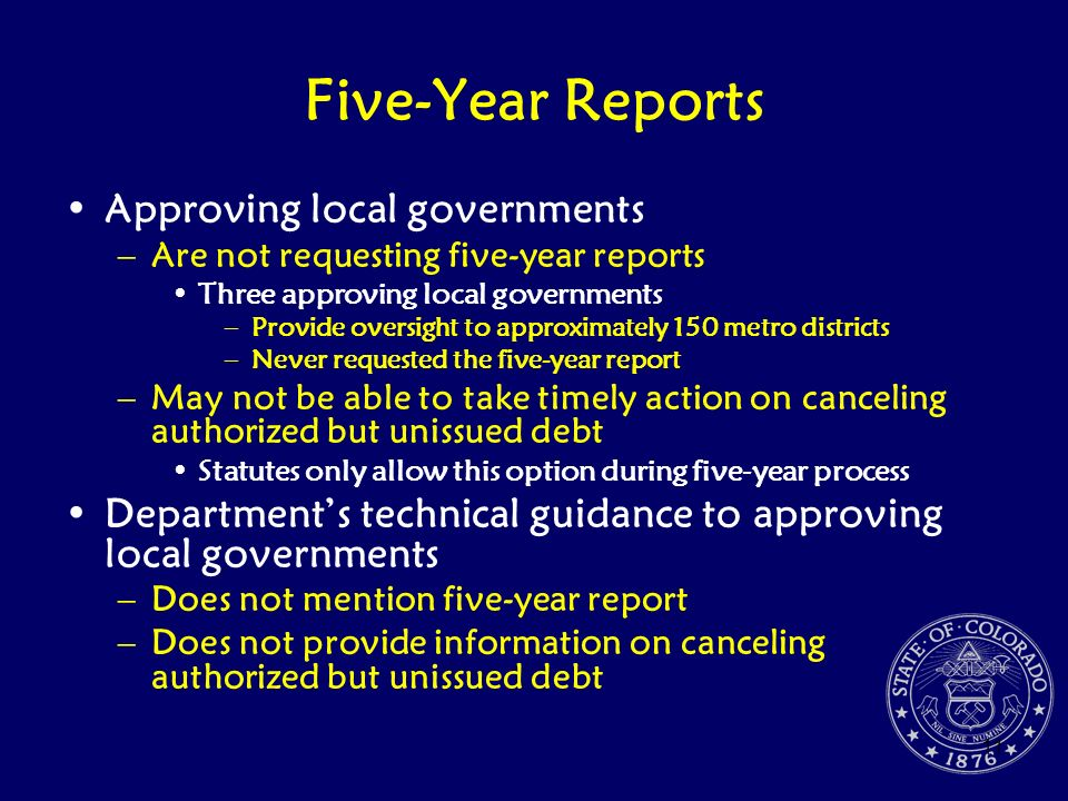 Five-Year Reports Approving local governments