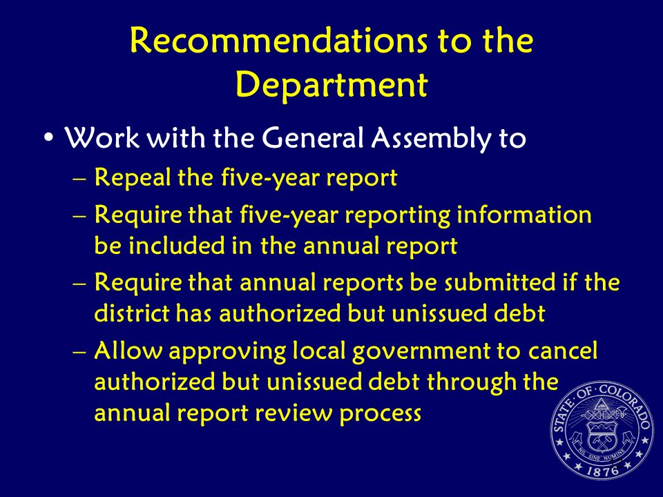 Recommendations to the Department