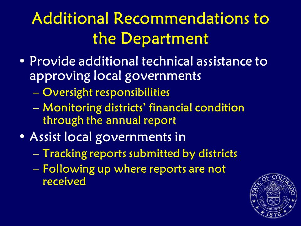 Additional Recommendations to the Department