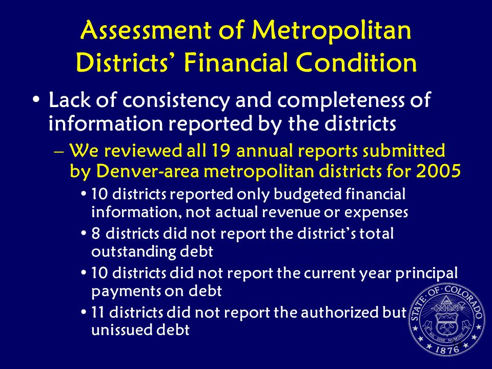 Assessment of Metropolitan Districts' Financial Condition