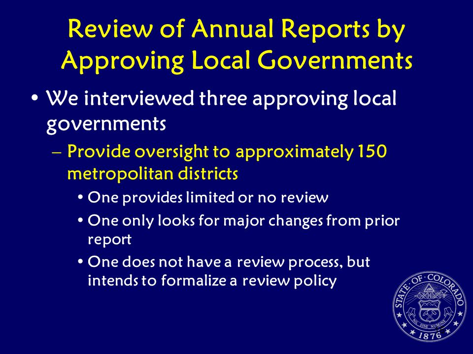 Review of Annual Reports by Approving Local Governments
