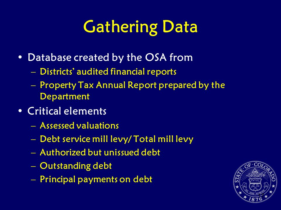Gathering Data Database created by the OSA from Critical elements